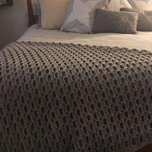 Extra large soft gray heather handmade blanket